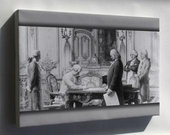Canvas 24x36; Benjamin Franklin At Treaty Of Amity And Commerce