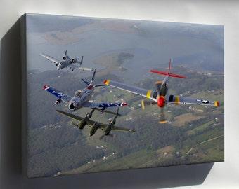 Canvas 24x36; A-10 F-86 P-38 P-51 A-10 F-86 Sabre P-38 Lightning P-51 Mustang