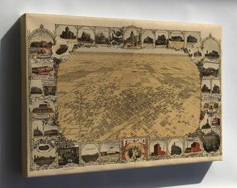 Canvas 16x24; Map Of Fresno, California 1901