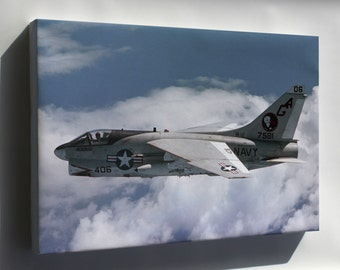 Canvas 16x24; Ltv A-7E Corsair Ii Attack Squadron 12 (Va-12) Flying Ubangis