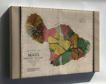 Canvas 16x24; Map Of Maui Hawaii 1885