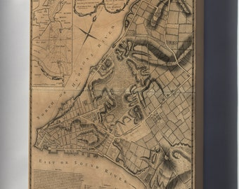 Canvas 16x24; Map Of New York City & Its Environs 1768