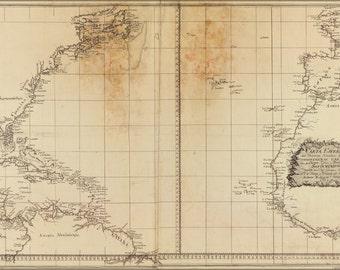 16x24 Poster; Map Of Atlantic Ocean 1800