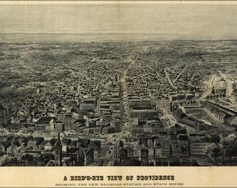 16x24 Poster; Birdseye View Map Of Providence Rhode Island 1895