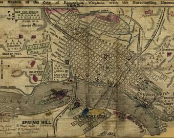 16x24 Poster; Map Of Richmond, Virginia & Area 1862