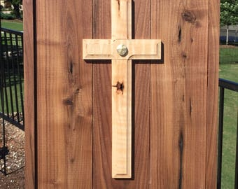 Unity Cross ® Wedding Wall Cross Solid Black Walnut and Curly Maple