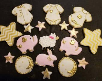 Baby Shower Girl cookies any color with gold