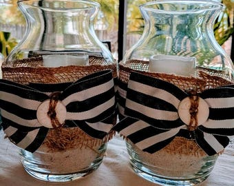 Nautical Center Piece Candle Holders w/battery operated candle