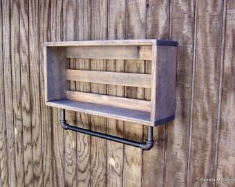 Gray Industrial Bathroom Shelves – 2 Tier Bathroom Wall Shelf With Towel Bar – Rolled Bath Towel Wall Holder – Above Toilet Bathroom Shelves
