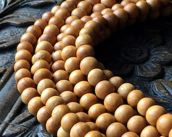 8mm Wood Beads Mala Beads 8mm Rondelle 108 Beads 28""
