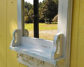 Mirror With Shelf Plus 4 Swag hooks distressed/choice of color/door entry mirror/mirror 12 x 12 with hooks/hall mirror/