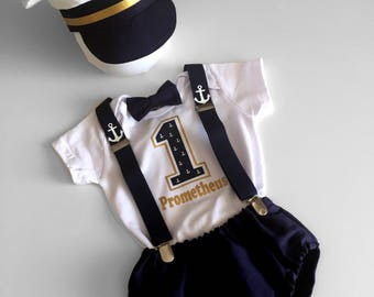 1st Birthday Boy Outfit...Elite Ship Captain Cake Smash Outfit Boy...Baby boy 1st Birthday Outfit...Photo prop... halloween outfit