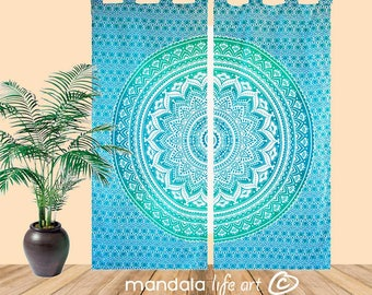 Boho Curtains For Living Room, Hippie Gypsy Curtains, Mandala Dorm Decor, Tapestry Window Treatment