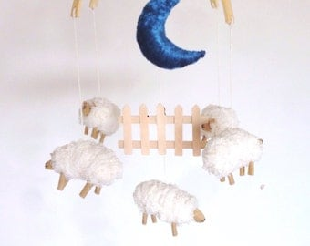Sale!!Couting sheeps baby mobile/modern baby mobiles /boy mobile