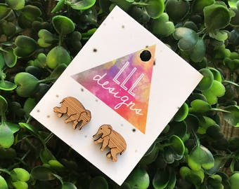 Elephant Earrings. Super Cute Detailed Itty Bitty Elephant Bamboo Stud Earrings! Quirky and Fun Laser Cut Bamboo Earrings. Be Bold - Be You!