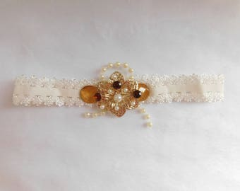 Vintage Cream Baby Headband with Silver Flower and Accents