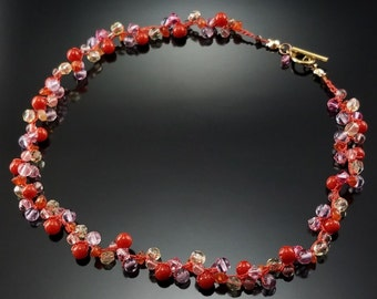 Vintage Glass Cherry Bead Choker Necklace Estate Jewelry