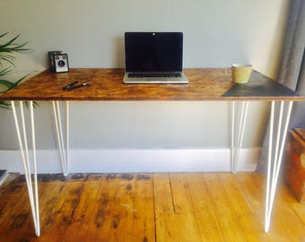 OSB desk with white steel hairpin legs and chalk board zone