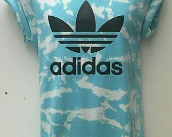 vintage acid wash retro adidas t shirt unisex retro customised rave festival