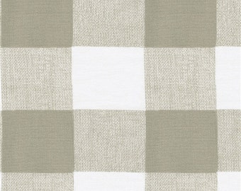 "DESIGNER Drapery Panels/ 2 panels- 63"", 84"", 96"",108"" / 1 Pair of Window Curtains / Taupe/ Antique White Buffalo Check"