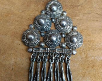 Vintage Pendant Necklace - 60s - Silver Metal