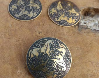 Vintage Celtic Horse Jewelry set - Brooch and Earrings -