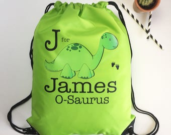Personalised Swimming  - PE Bag - Green Dinosaur kids gift - Free Postage