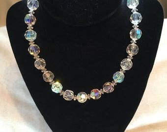 Vintage 1950s Cut Crystal Necklace