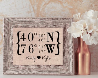 Latitude Longitude Sign | House Warming Gift | Housewarming Gift | Personalized Wedding Gift | Home Decor | New Home Housewarming Gift