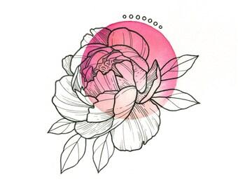 PINK Peony Temporary Tattoo