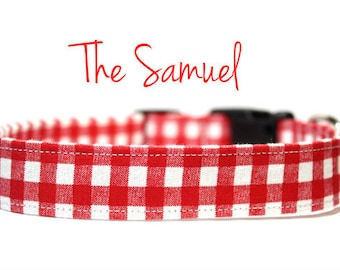 Red Gingham Dog Collar, Red Dog Collars, Red Collars, Summer Dog Collars, Spring Dog Collars, Plaid Dog Collars, Gingham Dog Collars