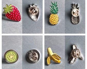 Fruit enamel pins
