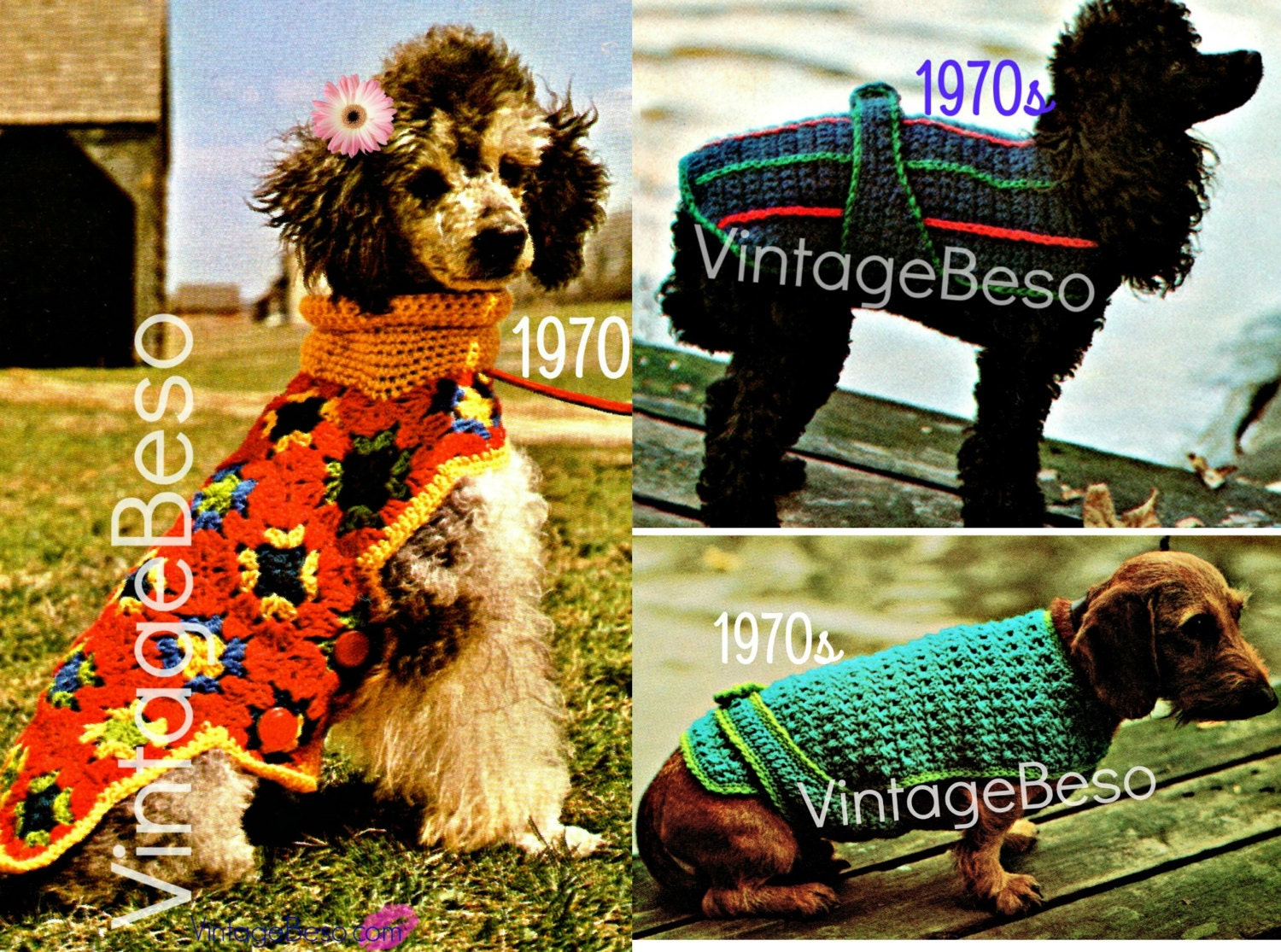 Instant download pdf pattern three 3 dog crochet patterns instant download pdf pattern three 3 dog crochet patterns dog sweater dog jacket dog coat 70s crochet patterns easy striped patterned bankloansurffo Image collections