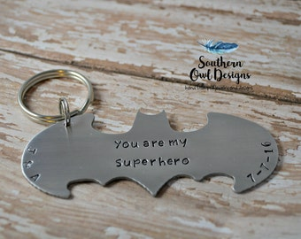 Stamped Batman keychain, batman keychain, personalized batman keychain, father's day gift, stamped metal batman keychain, gift for him,
