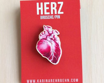 Red heart brooch / pin