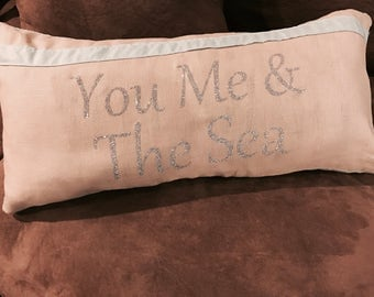 You me and the sea throw pillow and cover