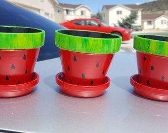 "Hand Painted 3"" Watermelon Flower Pots (set of 3) with Saucers"