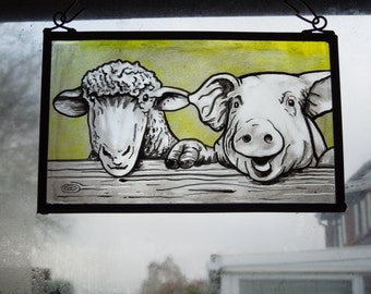 Arts and Crafts, Victorian, Medieval, Lamb, Sheep, Pig, Piggy, Piglet, Stained Glass Suncatcher