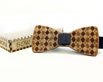 Wooden Bow Tie - ARGYLE - Cherry Wood - Clip On No Tie Bow Tie - Men Formal Wear