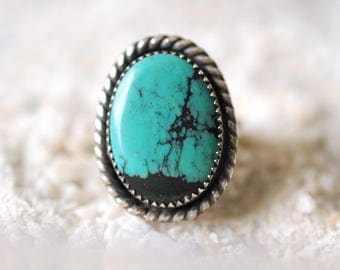 Tibetan Turquoise ring / handmade southwestern navajo jewelry / Blue green turquoise with black matrices . oxidised patina jewelry