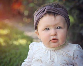 Adult mauve headband, heathered mauve neutral headband, eco-friendly modal adult turban headwrap, soft and stretchy baby turban headband