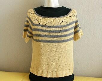 Pullover yellow / gray short