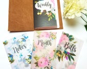 Brushed Elegance Floral Planner Dashboards For TN's and Midori Travelers Notebook V129
