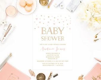 Pink Gold Baby Shower Invitation, Girl Baby Shower Invitation Printable, Baby Shower Invite, Pink Gold Hearts Digital Invite