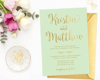 mint gold wedding invitation printable wedding invitation mint green and gold wedding faux - Mint And Gold Wedding Invitations