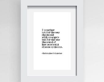 Christopher Poindexter, Love Quote Typed on Typewriter, Instant download, Letters With Impact, Minimalist Decor, Poindexter Quote,