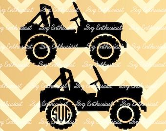 Jeep Silhouette SVG, Jeep Monogram frame SVG, Jeep SVG, Vehicle Svg, Jeep Cut file, Eps, Dxf, Cricut, Cut files