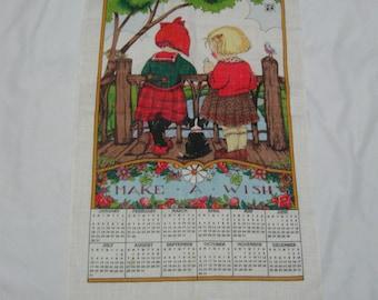 "Vintage 1994 Linen Kitchen Towel Calendar ""Make a Wish"" Two Little Girls with Puppy 27"" x 16"" Vintage Linen Collectible Kitchen Towel"