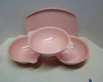 Melmac serving set.  3 Pink Mallo Ware (melmac) serving bowls and one serving platter by Marcrest, also melmac or melamine. Retro/midcentury