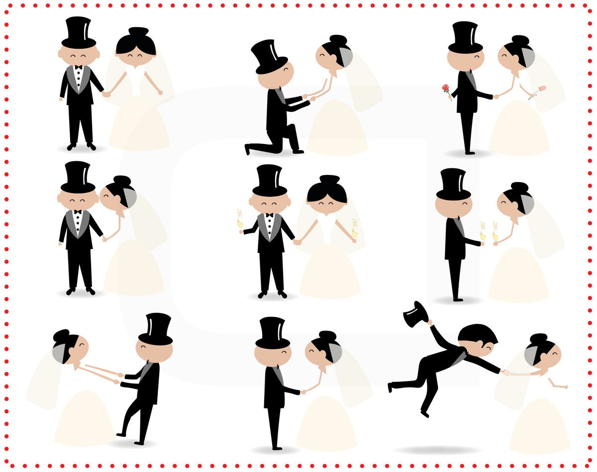 Stick Figure Wedding Invitations: Stick Figure People Love Wedding Couple Meeting Cute